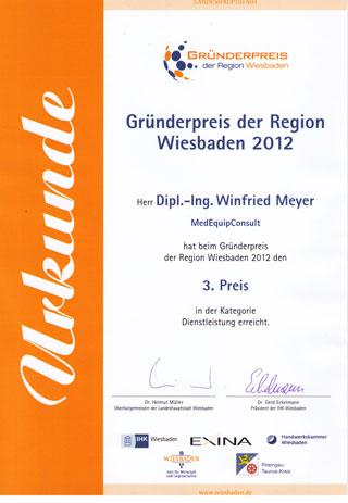 MedEquip Consult - Gründerpreis Urkunde